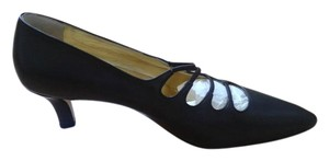 Walter Steiger New Made In Paris All Leather Pointed Shape Low 2 Inch Heels dark brown Pumps
