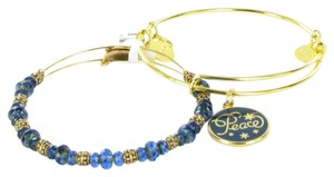 Alex and Ani Peace Set of 2 Navy Blue Color Infusion Gold Bracelet 2016 New Box