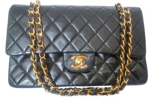 Chanel 2.55 255 Lambskin Double Flap Shoulder Bag