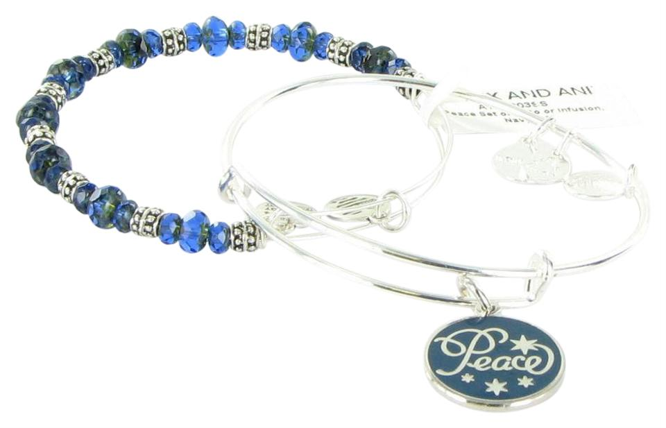 Alex And Ani Peace Set Of 2 Navy Blue Color Infusion Shiny Silver