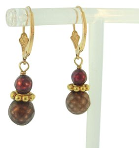 Other 14K Solid Yellow Gold Small Drop Dangle Bead Earrings