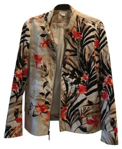 Chico's Mixed: brown, cream, beige and tangerine Jacket