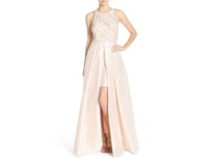 Adrianna Papell Light Champagne Embellished Taffeta Ballgown Dress