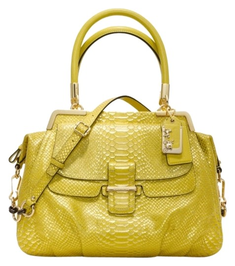 Coach Limited Edition Leather Satchel in Yellow & Metallic Gold