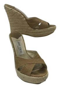 Jimmy Choo Woven Neutral Beige Wedges