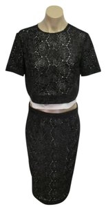 A.L.C. A.L.C. Black & White Floral Lace Short Sleeve Top & Matching Skirt - 6