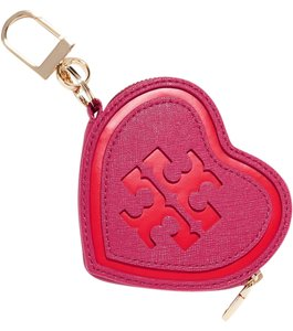 Tory Burch TORY BURCH Two-tone smooth and textured-leather key wallet coin purse