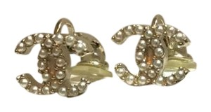 Chanel Authentic CC Gold Clip-on Earrings with Pearls + Box