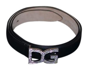 Dolce&Gabbana D&G - Dolce&Gabbana Crystal Black Italian Leather Belt