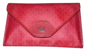 Fendi Avant Garde Look Mint Vintage Rare Color & Dressy Or Casual Early Style red small 'F' logo print coated canvas and red leather Clutch