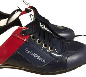 Dolce&Gabbana silver heel, red, white and green sides and navy blue front, rubber soles Athletic