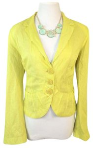 People Like Frank Inverted Ruffle Jacket Lime Green Blazer