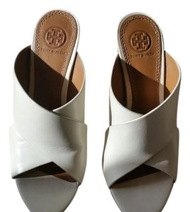 Tory Burch Super Cute Unique Looking Leather Cushioned Footbed CREAM WITH MULTI COLOR WEDGE HEEL Sandals