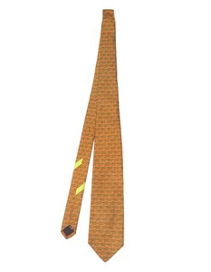 Salvatore Ferragamo Salvatore Ferragamo Orange Fish Print Silk Tie