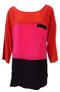 Go Silk Tunic Color Block Color-blocking Silk Top Red/Pink/Black