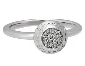 Gucci Gucci 18k white gold Logo diamond ring size 6.25
