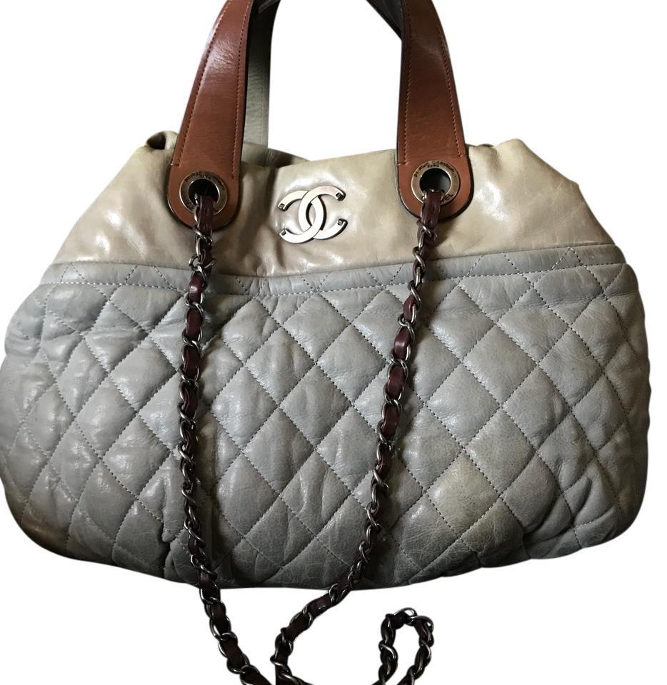 652ee71298d52e Chanel Bag Quilted Iridescent In-the-mix Small Light Grey with Brown ...