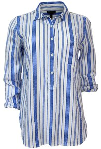 J.Crew Shirt Classic Striped Cotton Blue Button Down Shirt Blue Strip