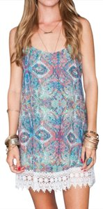 Show Me Your Mumu short dress Blue Reville Mini Great Barrier Reef Printed Swingy Chic Crochet Lace Trim on Tradesy