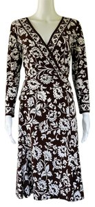 Donna Morgan short dress Brown Damask Floral Slinky Cross-over on Tradesy