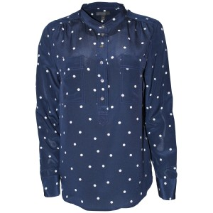 J.Crew Shirt Silk Polka Dot Longsleeve Button Down Shirt Navy