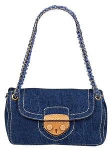 Prada Denim Gold Chain Leather Blue Chic Shoulder Bag
