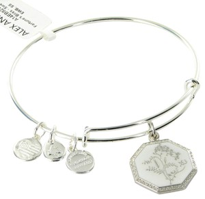 Alex and Ani A14EB92SS Fortune's Bliss Sweet Pea Expandable EWB Bracelet Silver