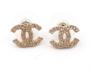 Chanel Chanel Brand New Gold CC Crystal Piercing Earrings