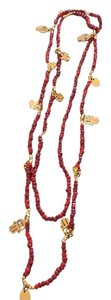 CC SKYE Bali Antique Gold and Red Coral Beaded Necklace