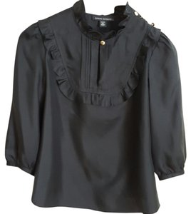 Banana Republic Silk Victorian Romantic Ruffled High Neck Top Black