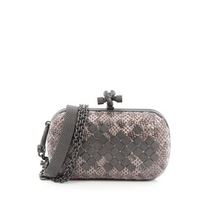 Bottega Veneta Snakeskin Gray Clutch