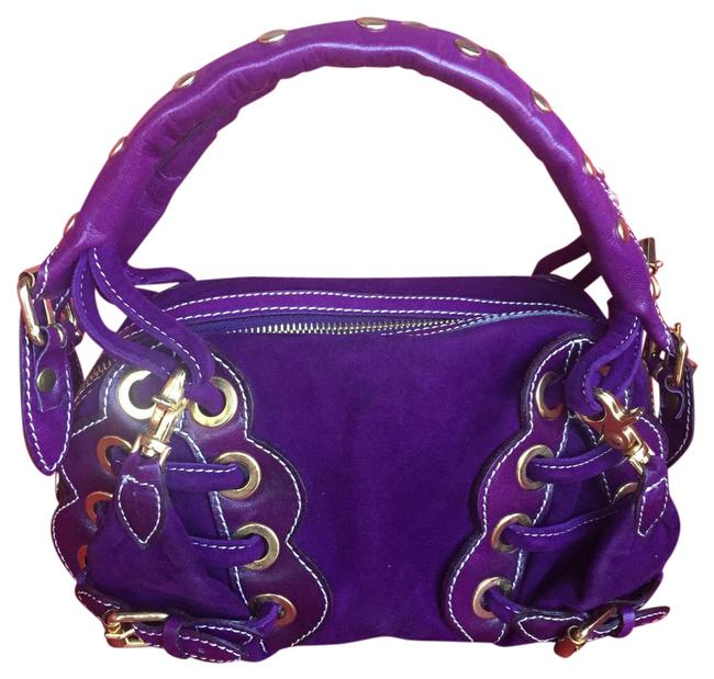 Item - Purple Leather and Suede Baguette
