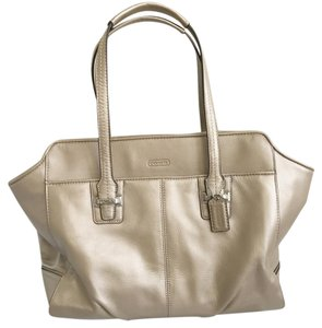 Coach Leather Patent Leather Spring Tote in Champagne
