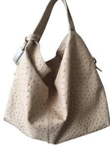 Furla Ostrich Leather Off White Hobo Bag