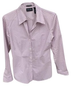 New York & Company Button Down Shirt pastel pink and purple