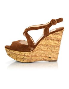 Prada Suede Sandals Brown Wedges