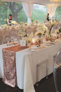Lot Of 4 Blush Sequin Table Runners Rose Gold Glitter Sparkle Glam