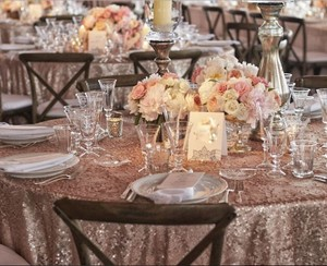 120' Round Blush Sequin Tablecloth Bling Glam Sparkle Wedding