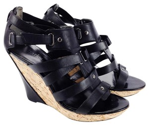 Charles by Charles David Cork Heels Leather Strappy Glad Black Wedges