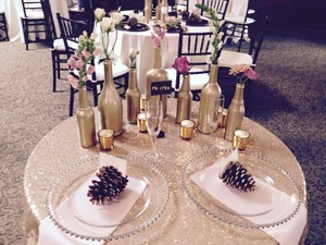 Custom Made 96'' Gold Sequins Tablecloth