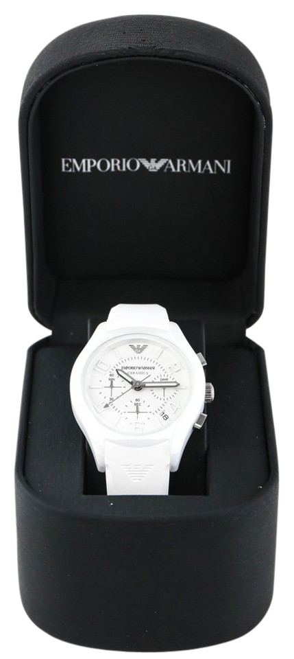 2a5762d28b Emporio Armani White Ar 1431 Ceramic Rubber Ladies Watch 56% off retail