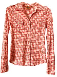 Tory Burch Gold 100% Silk Top Orange and white