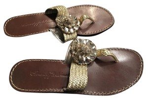 Beverly Feldman Flats gold with crystals Sandals