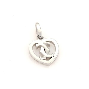 Cartier Cartier Double C Logo Heart Charm Pendant in 18k White Gold