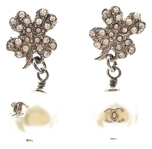 Chanel Chanel Silver Crystal Camellia Pearl Piercing Earrings