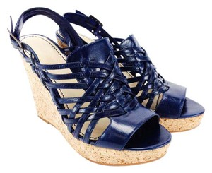 Enzo Angiolini Sandals Leather Strappy Ankle Strap Cork Dark Blue Wedges