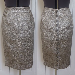 Byron Lars Beauty Mark Brocade Metallic Skirt Silver