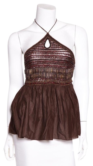 Item - Brown Hole Beaded Halter Top Size 8 (M)