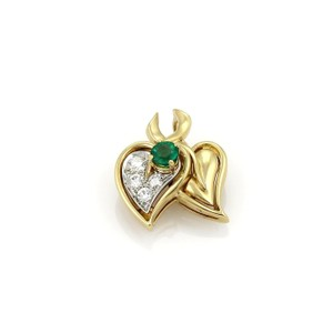 Tiffany & Co. Tiffany & Co. Diamond & Emerald Double Leaf Pendant in 18k Yellow Gold