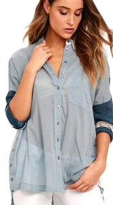Free People Button Down Shirt Blue